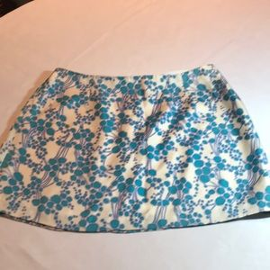 Milly silk skirt size 6 white blue purple print